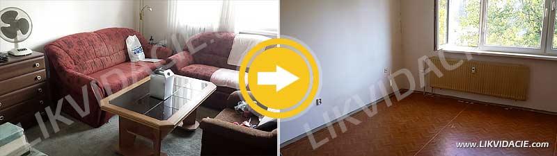 Rýchle vypratanie 1 izbového bytu, upratanie po likvidácii nábytku a odpadu. Bratislava - Ružinov