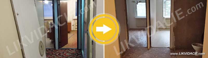 Vypratanie plne zariadeného bytu do holopriestoru pred rekonštrukciou, vybúranie a likvidácia bytového jadra a zárubní. Bratislava