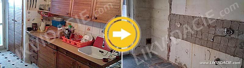 Demontáž a likvidácia kuchynskej linky, vstavanej skrine. Vysekanie obkladov a vybúranie priečnej steny, odvoz stavebnej sute. Kompletné vypratanie 3i bytu. Bratislava – Kramáre