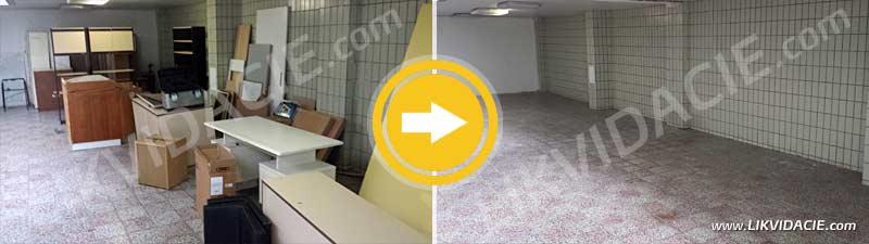 Odvoz a likvidácia vyradeného nábytku, zariadenia a odpadu. Zdravotné stredisko Bratislava - Petržalka