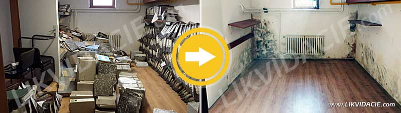 Vypratanie vytopených priestorov archívu. Odvoz a likvidácia odpadu. ÚKSÚP Bratislava