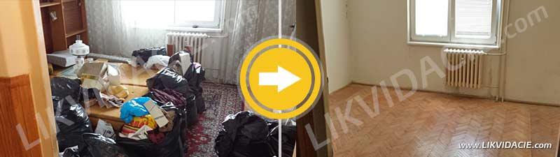 Odvoz nábytku, vybavenia a ostatného opadu, demontáž, kompletné vypratanie 3i. bytu a upratanie priestorov. Bratislava – Ružinov