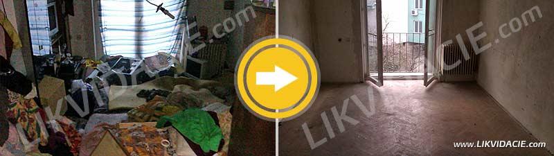 Kompletné vypratanie 2i. bytu po neprispôsobivých obyvateľoch - narkomanoch, odvoz a likvidácia všetkého zariadenia do holého priestoru, odvoz odpadu z bytu, dezinfekcia. Bratislava – Ružinov