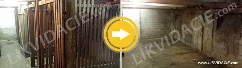 Vypratanie pivničných kobiek, odstránenie kobiek a vyčistenie priestoru. Bratislava - Staré mesto