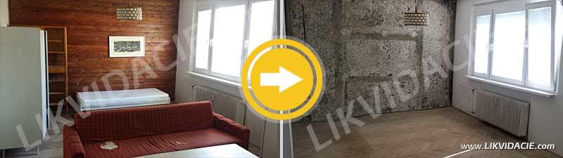 Kompletné vypratanie 2i. bytu, demontáž a likvidácia dreveného obkladu, Bratislava - Nové Mesto