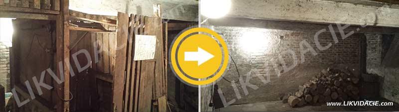 Vypratanie pivnice,demontáž pivničných kobiek. Odvoz odpadu a uhoľného prachu z pivníc, Bratislava – Staré Mesto