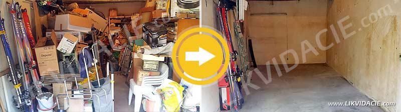 Vypratanie garáže, odvoz a likvidácia odpadu, upratanie. Karlova Ves, Bratislava